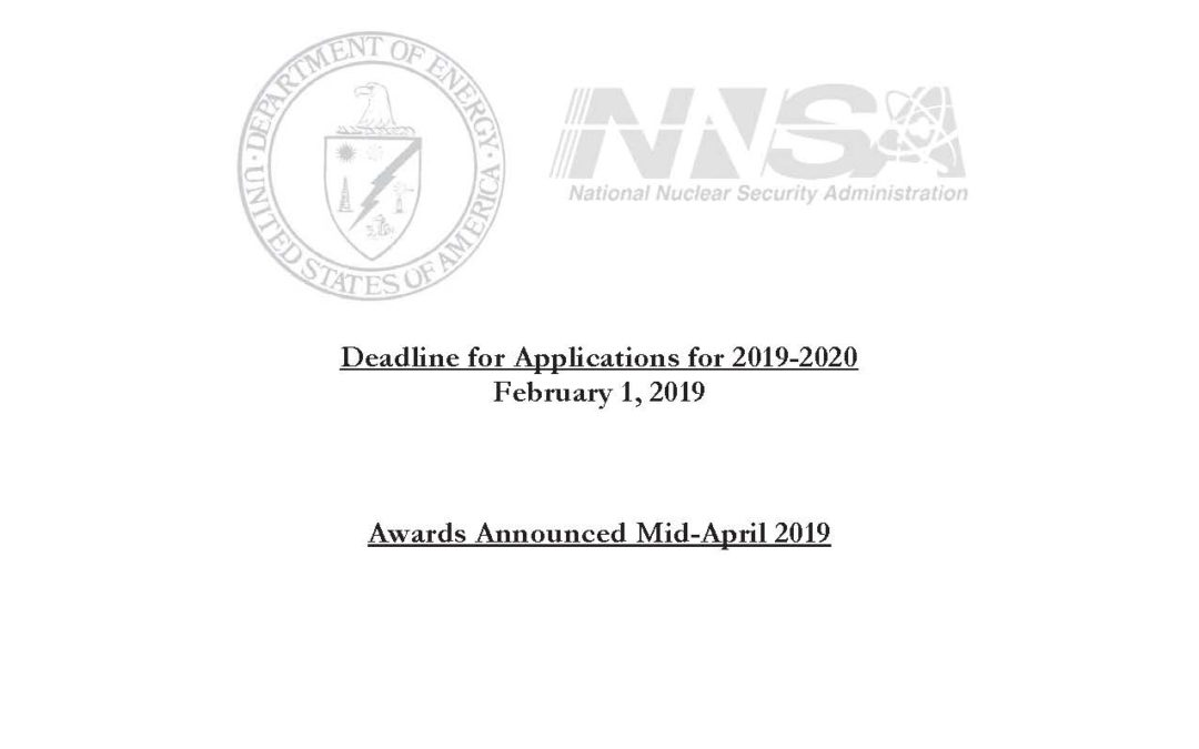 Call for Applications: Nuclear Nonproliferation International Safeguards (NNIS) Graduate Fellowship Program
