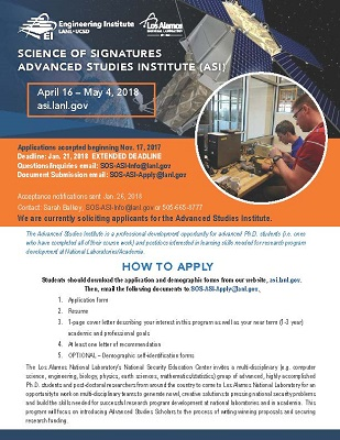 NSEC SoS Advanced Study Institute Looking for Post-Doc and Doctoral Students for 3 Week Program